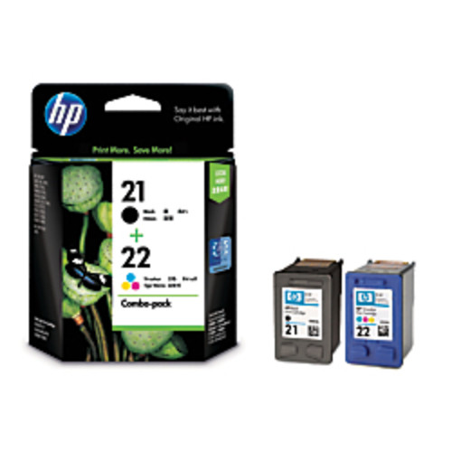 HP 21/22 Black/Tricolor Ink Cartridges (C9509FN), Pack Of 2