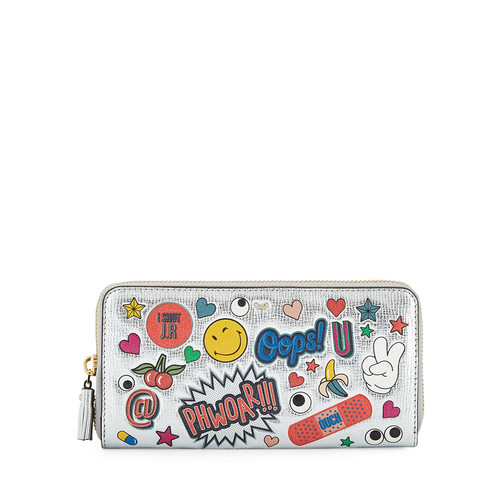 ANYA HINDMARCH All Over Wink Sticker Large Zip-Around Wallet, Silver/Multi