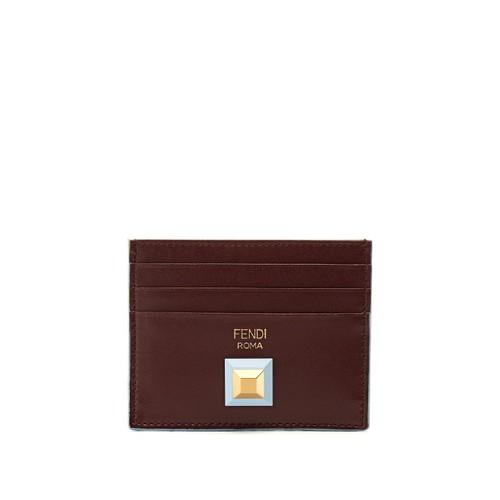 Stud-embellished bi-colour leather cardholder