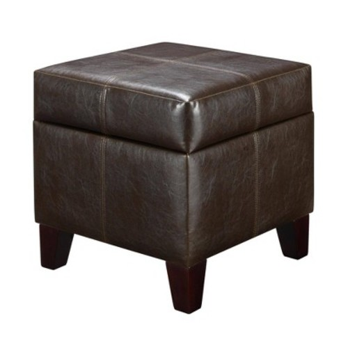Small Cube Faux Leather Storage Ottoman - Espresso - Dorel Living