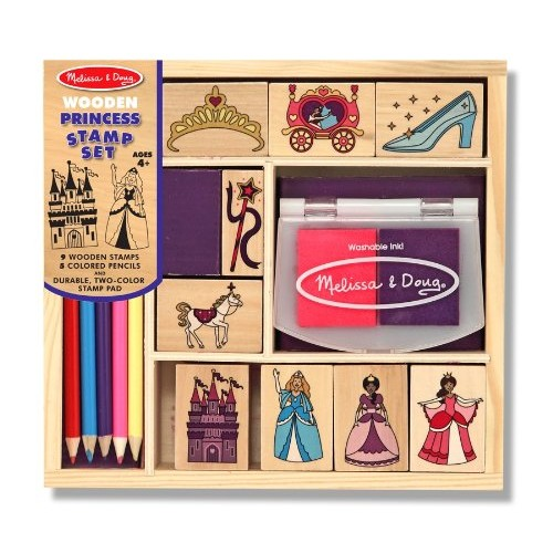Melissa & Doug Wooden Princess Stamp Set: 9 Stamps, 5 Colored Pencils, and 2-Color Stamp Pad [Standard Version]