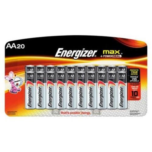 Energizer Max AA-Size 1.5V Alkaline Batteries, 20 Pack E91LP-20