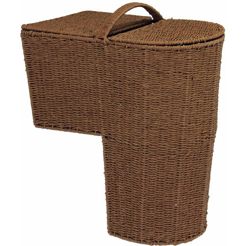 Household Essentials Rounded Stairstep Basket with Lid