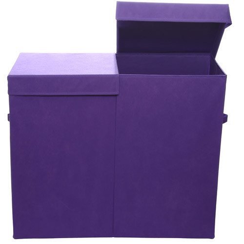 Modern Littles Color Pop Folding Double Laundry Basket, Solid Purple