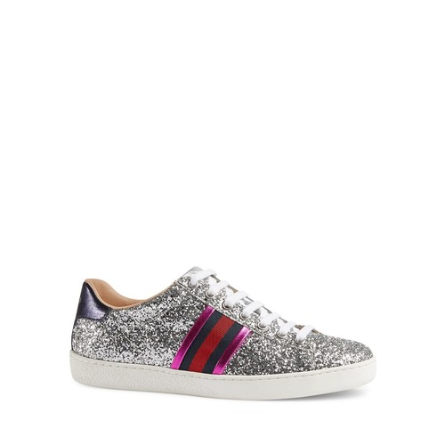 GUCCI Ace Glitter Low Top Lace Up Sneakers