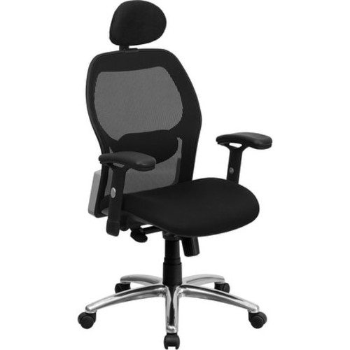 Brittany High-Back Black Mesh Executive Swivel Chair w/Knee Tilt, Arms