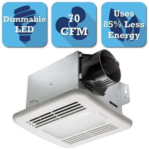 Delta Breez Integrity Series 70 CFM Ceiling Bathroom Exhaust Fan with LED Dimmable Light