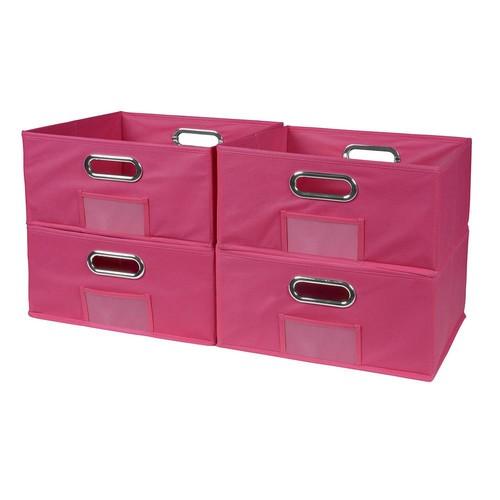 Niche Cubo 12 in. x 6 in. Pink Folding Fabric Bin (4-Pack)