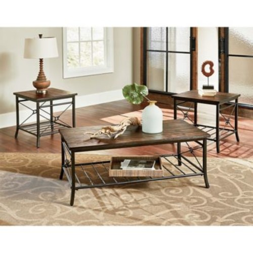 Standard Furniture Mfg. Ainsley 3-Piece Coffee Table and End Table Set in Brown
