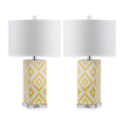 Safavieh Diamonds Table Lamps with Cotton Shade (Set of 2)