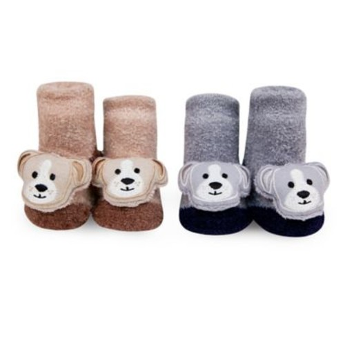 Waddle Size 0-12M 2-Pack Puppy Rattle Baby Socks in Tan/Grey