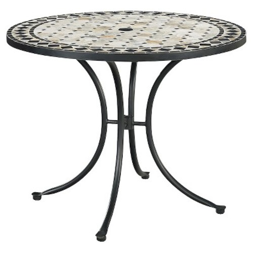 Laguna Marble Top Round Outdoor Dining Table - Black - Home Styles