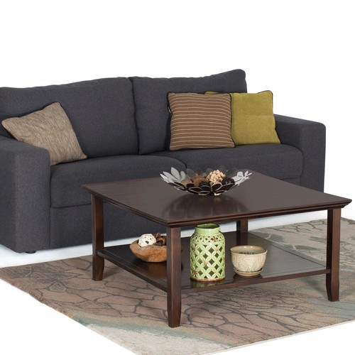 Simpli Home Acadian Tobacco Brown Storage Coffee Table