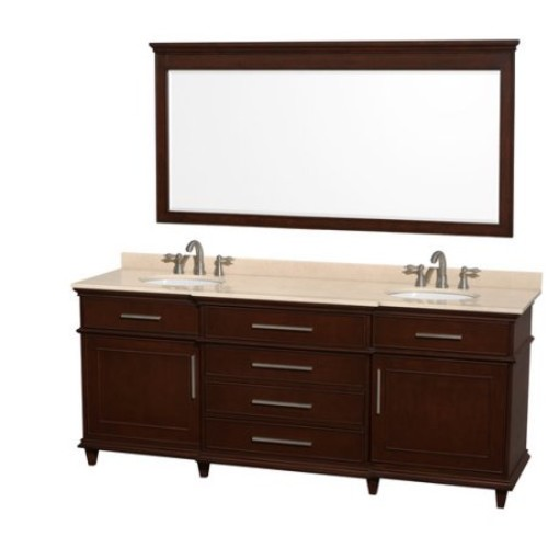 Wyndham Collection Berkeley 80 inch Double Bathroom Vanity in Dark Chestnut with Ivory Marble Top with White Undermount Oval Sinks and 70 inch Mirror