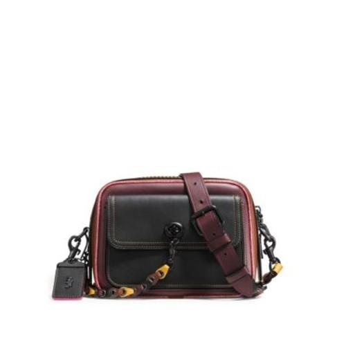 Zippered Leather Shoulder Bag