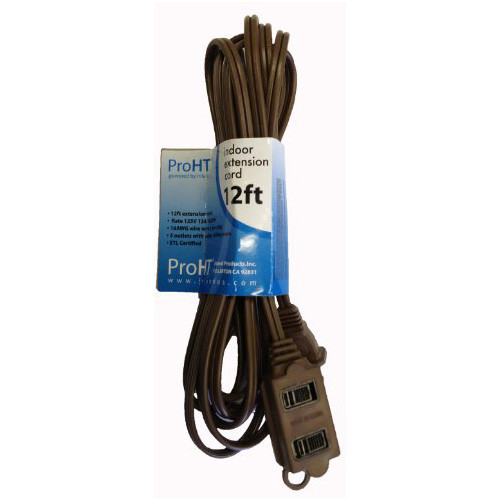Inland 12' ft Extension Cord - 3 Outlets, Safety Cover, 16 AWG, Black - 03291