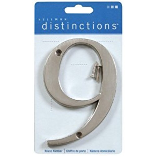 Distinctions by Hillman 843329 4-Inch Brushed Nickel Flush-Mount House Number 9 [Brushed Nickel, Number 9]