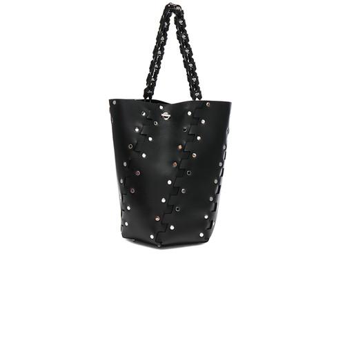 Proenza Schouler Medium Studded Hex Leather Bucket Bag in Black