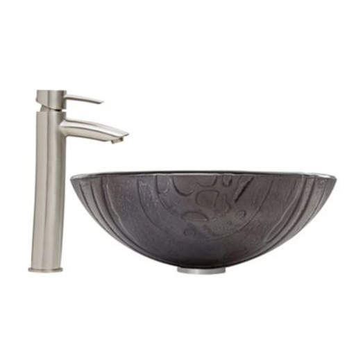 Vigo Interspace Vessel Sink and Shadow Faucet Set in Brushed Nickel