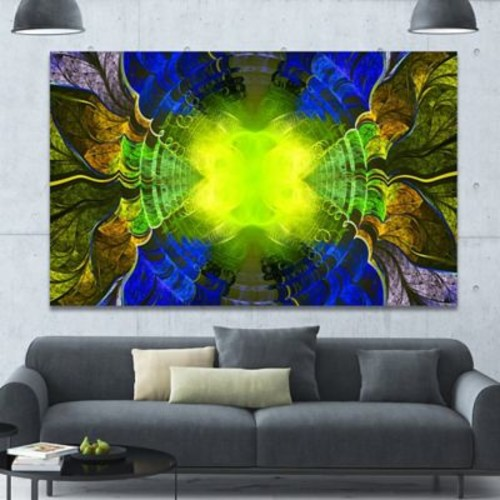 DesignArt 'Green Golden Fractal Stained Glass' Graphic Art on Canvas; 40'' H x 60'' W x 1.5'' D