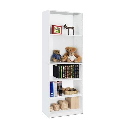Furinno JAYA 5-Shelf White Open Bookcase