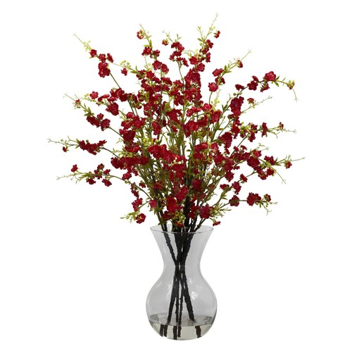 Nearly Natural Cherry Blossoms with Vase Arrangement, Red