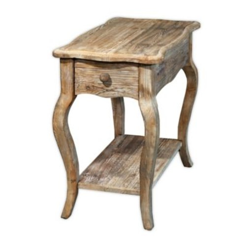 Rustic Reclaimed Wood Chairside Table with Driftwood Finish