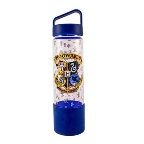 Harry Potter Crest 20 oz. Glass Water Bottle with Silicone Bottom