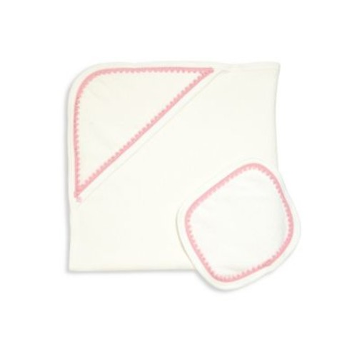 Baby's Two-Piece Lace Trim Hooded Towel & Wash Cloth Set