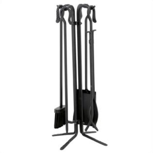Uniflame 5 Piece Black Wrought Iron Fireset With Crook Handles