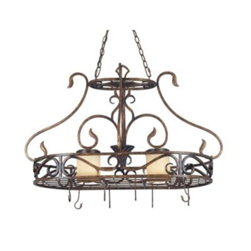 Kenroy Home Verona 2-Light Ceiling-Mount Pot Rack Light in Copper