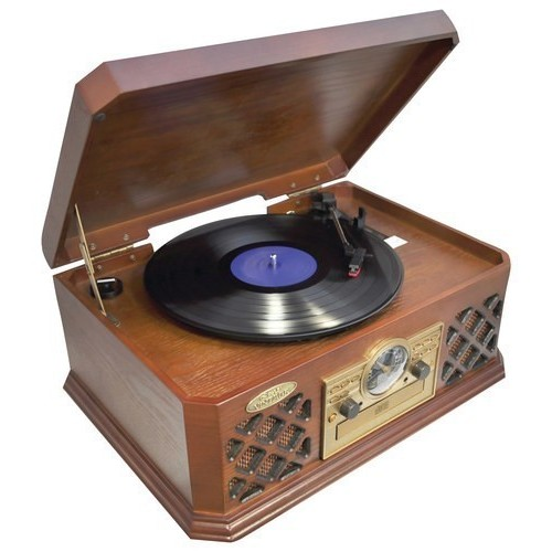 Pyle - Bluetooth Turntable and Speaker System - Brown