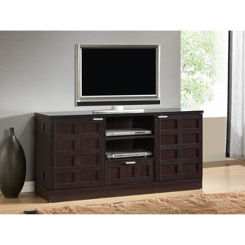 Broadway Black Large Flat Panel Plasma / LCD TV Console with Media Storage