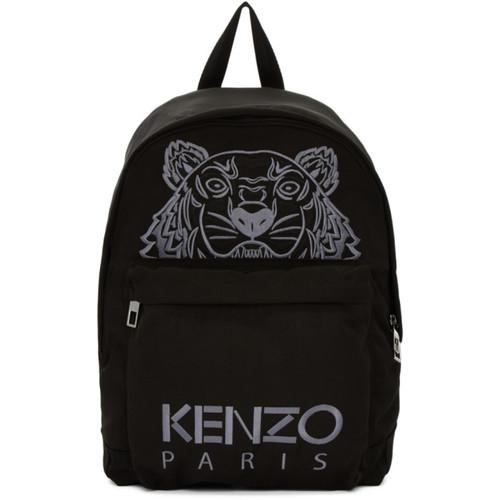 Black Large Tiger Canvas Backpack