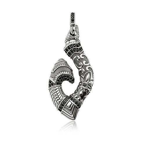 Blackened Sterling Silver Maori Hook Pendant w/Black Zirconia
