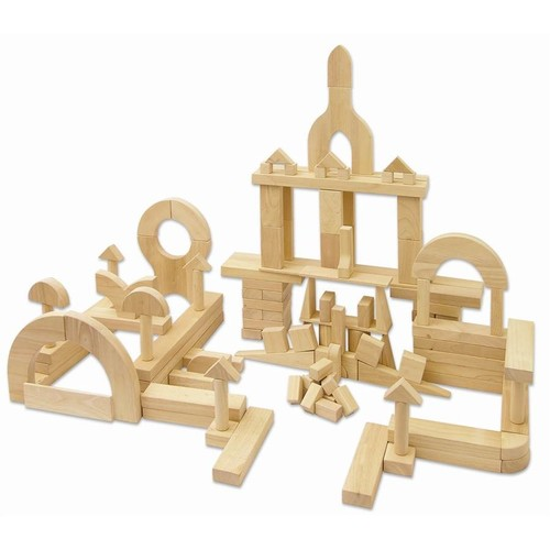 ECR4Kids Solid Hardwood Hand-sanded Building Block Set, Natural (118-Piece)