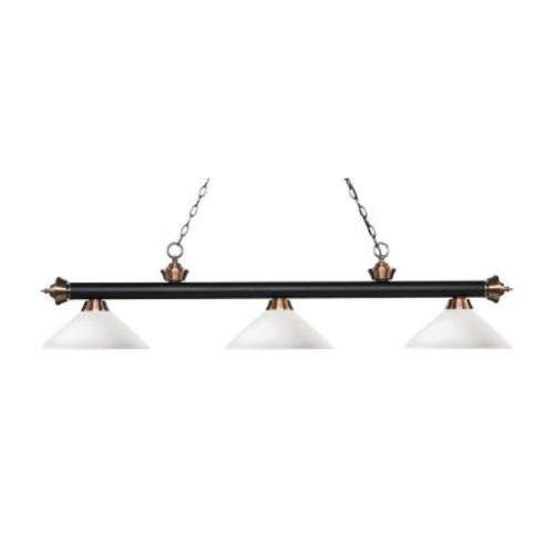 Filament Design Pire 3-Light Matte Black and Antique Copper Island Light with Matte Opal Glass Shades