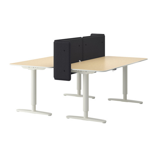BEKANT Desk sit/stand with screen, white