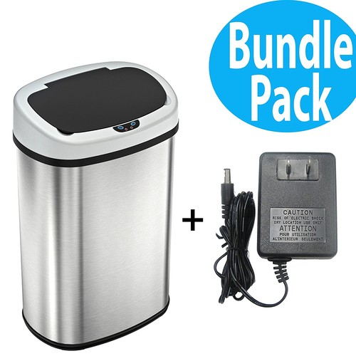 SensorCan Battery-FREE 13 Gallon Automatic Sensor Kitchen Trash Can with Power Adapter - 49 Liter Touchless Stainless Steel Trash Bin [With Ac]
