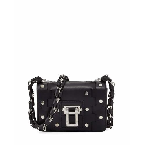 Hava Chain Leather Crossbody Bag, Black
