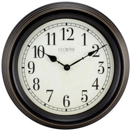 La Crosse Technology 15 in. H Round Brown Antique Analog Wall Clock