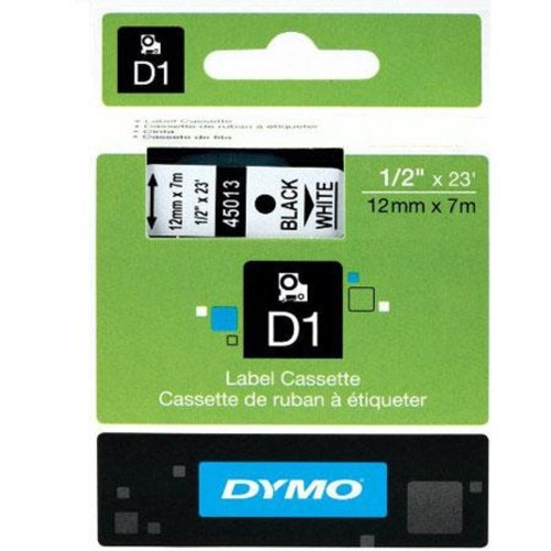 Dymo 1/2 inch x 23 feet Black Print/White Tape 45013