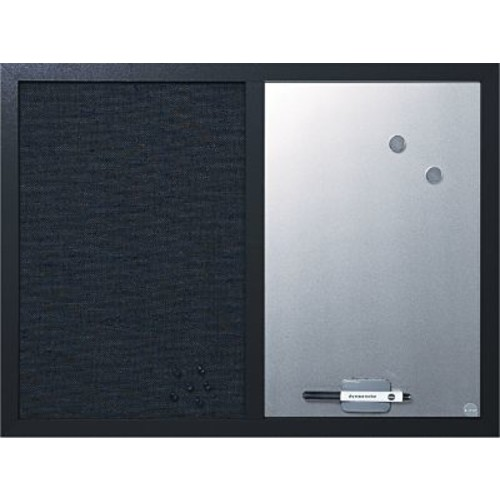 MasterVision Combo Fabric/Dry Erase Board, Black Frame, 24