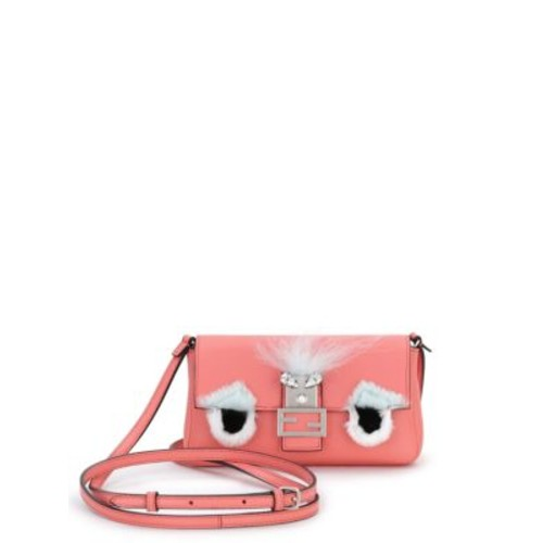 FENDI Micro Leather, Rabbit Fur & Fox Fur Buggie Baguette