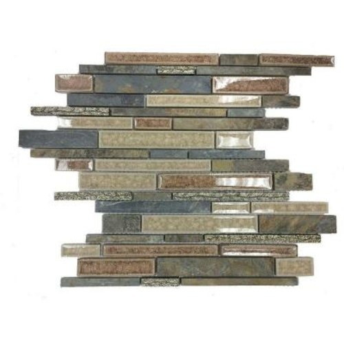 Splashback Tile Olive Branch Slate Glass and Stone Mosaic Tile - 3 in. x 6 in. Tile Sample