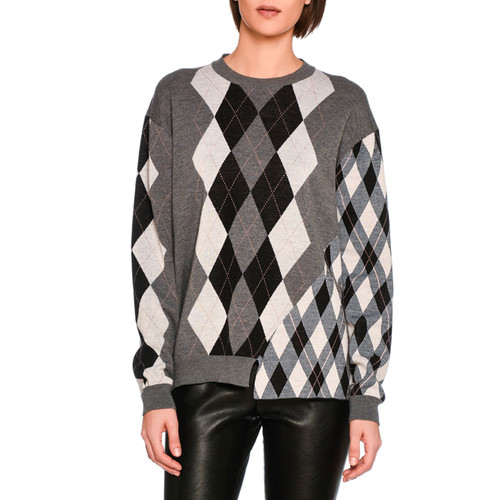 STELLA MCCARTNEY Mixed Argyle Knit Sweater, Gray Pattern