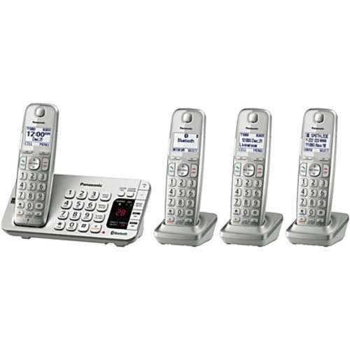 Panasonic Link2Cell KX-TGE474S Bluetooth Cordless Phone And 4 Handsets, Silver