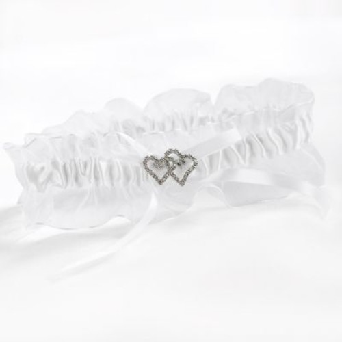 HBH White With All My Heart Garter With Satin Bow and a Chiffon Ruffle