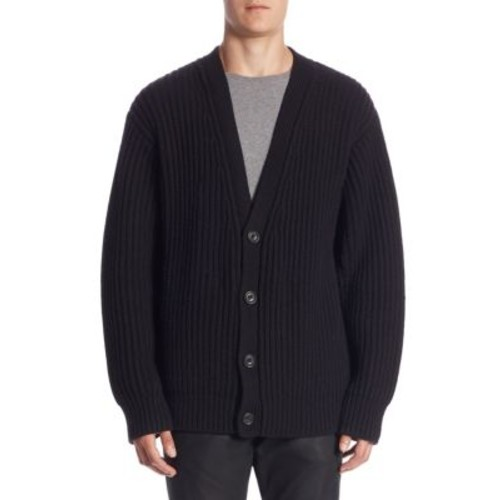 Regular-Fit Rib-Knit Wool & Cashmere Cardigan
