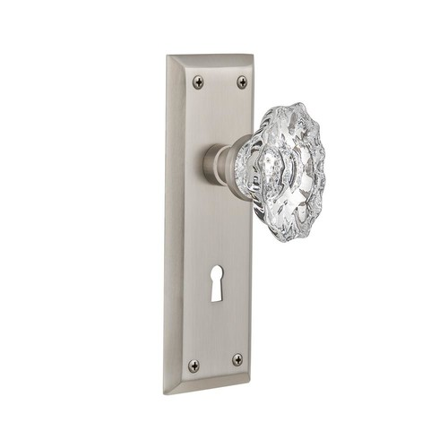 Nostalgic Warehouse New York Plate with Keyhole 2-3/4 in. Backset Satin Nickel Privacy Chateau Door Knob